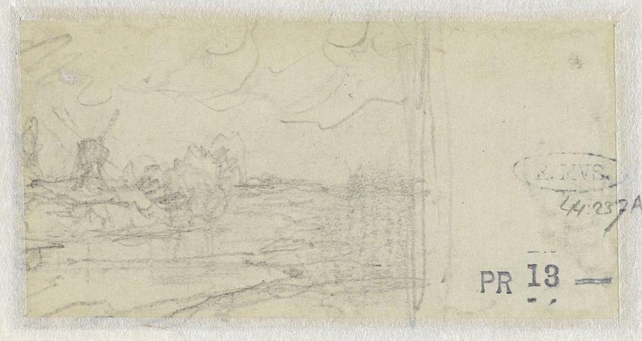 Schets van een landschap met een molen