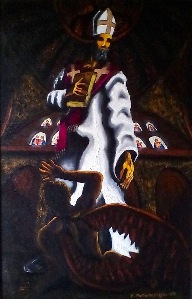 St. Augustine of Hippo in front of Evil