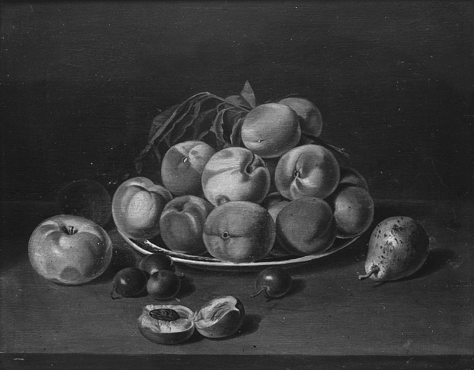 Still Life: Peaches, Apple, and Pear
