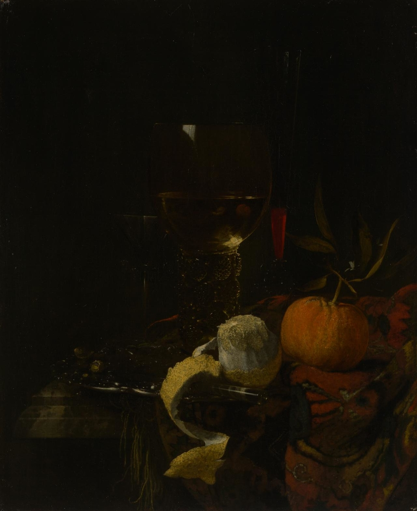 Still life with glasses and fruit