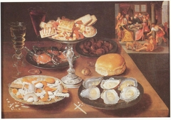 """Still life with oysters and sweets, in the bakground """"Lazarus and the Rich Man"""", ca. 1610-1620"""