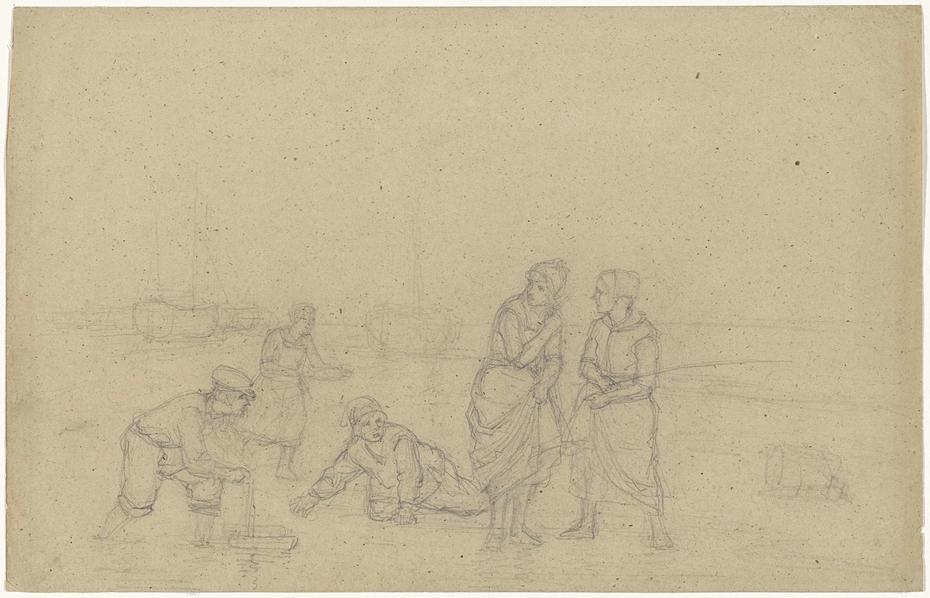 Strand met wadende vrouwen en spelende kinderen