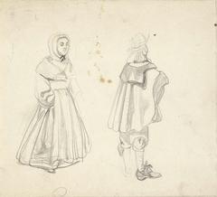 Studie van een man en vrouw in zeventiende-eeuwse kleding