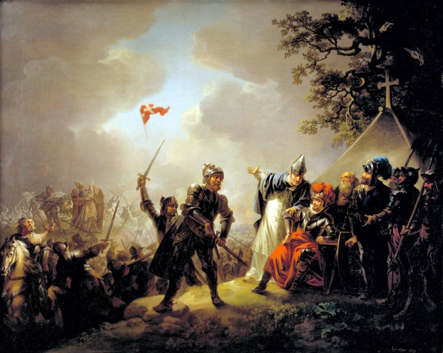 The Legend of the Danish Flag (the Dannebrog) Falling from the Heavens during the Battle of Lyndanise in Estonia in 1219