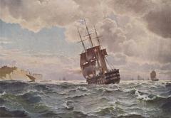 The ship of the line ''Skjold'' near a coast