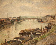 The Stone Bridge and Barges at Rouen