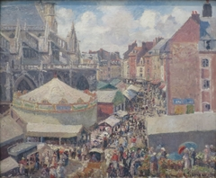 The Town Fair by the Church of Saint-Jacques in Dieppe, Morning, Sunlight