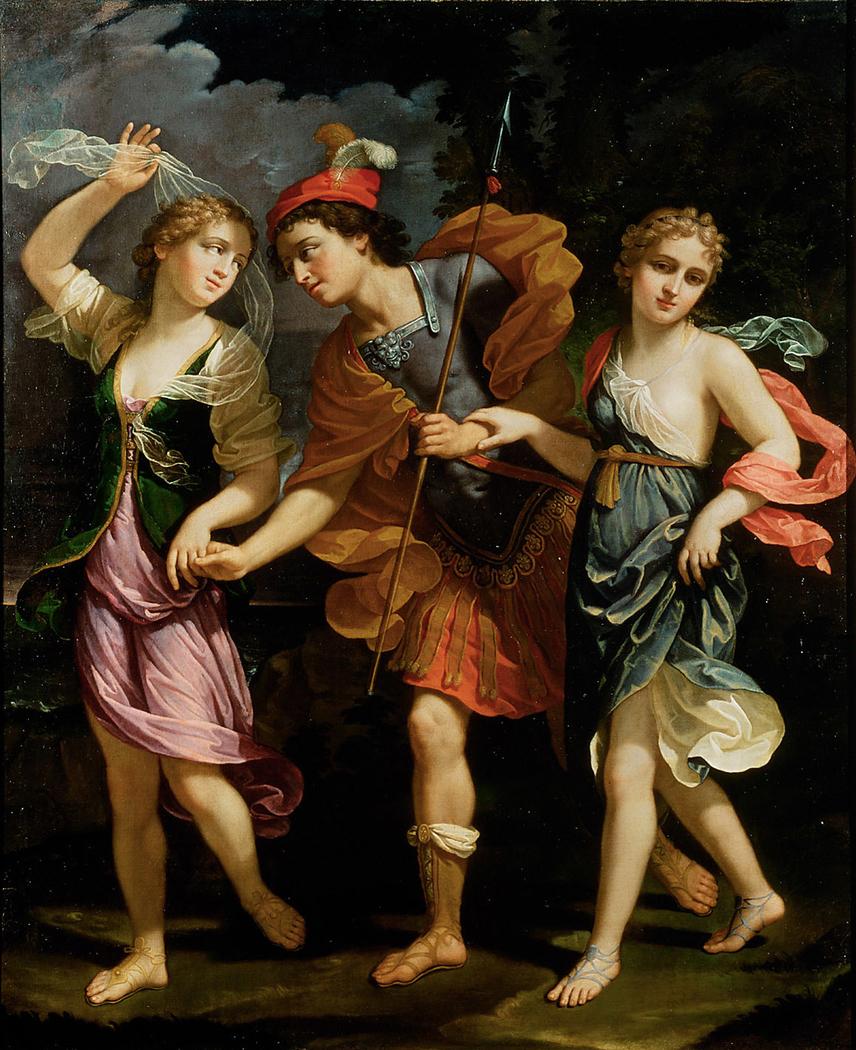 Theseus mit den beiden Töchtern des Minos