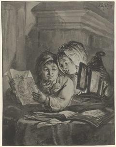 Twee lezende kinderen met een lantaarn