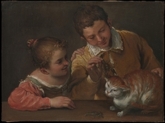 Two Children Teasing a Cat