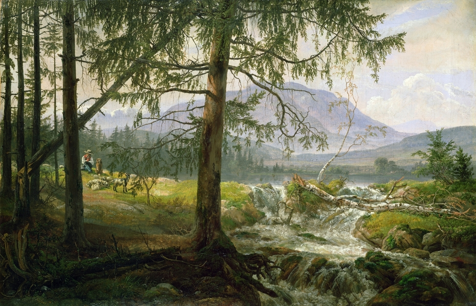 Tyrolean Landscape with Spruce Trees and a Waterfall