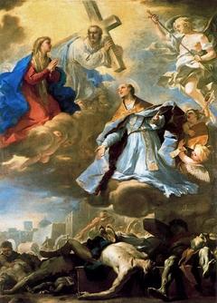 San Gennaro intercede presso la Vergine, Cristo e il Padre Eterno per la peste