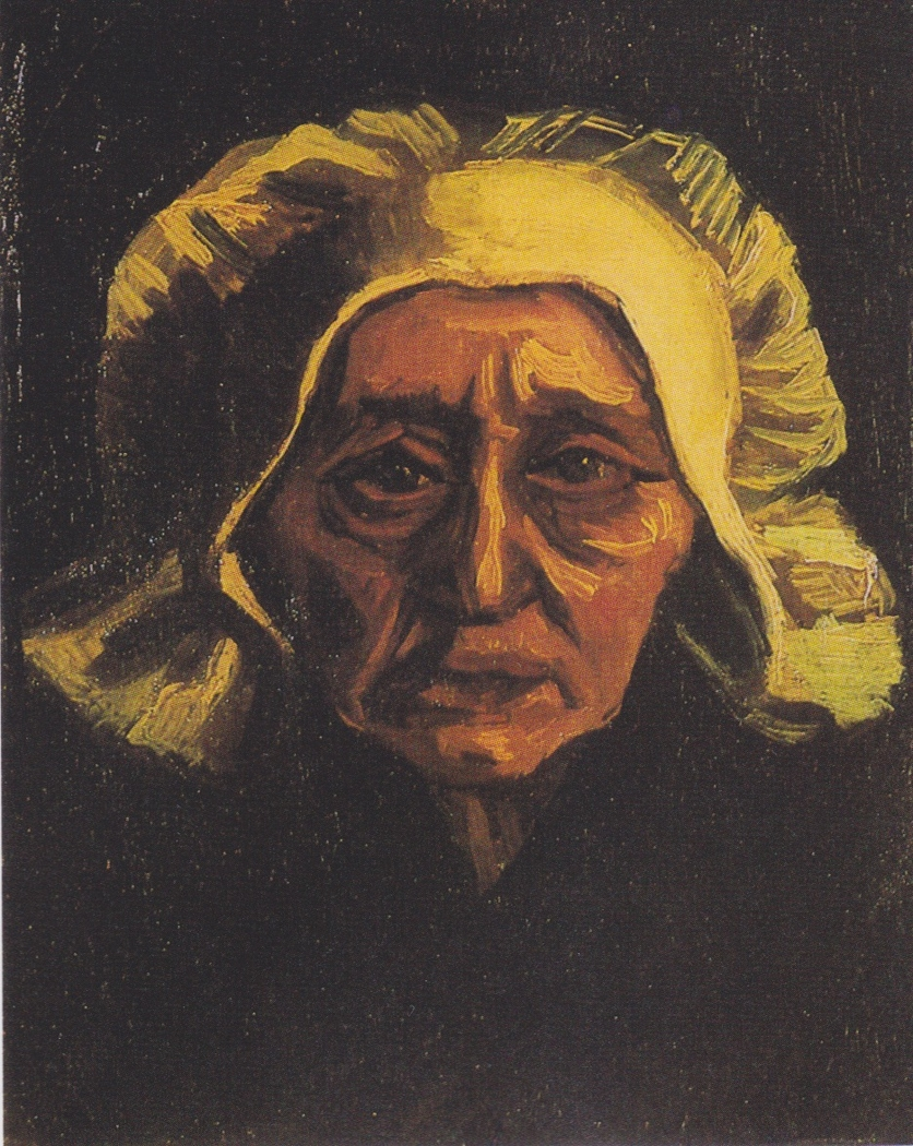 Head of an old peasant woman with a white cap
