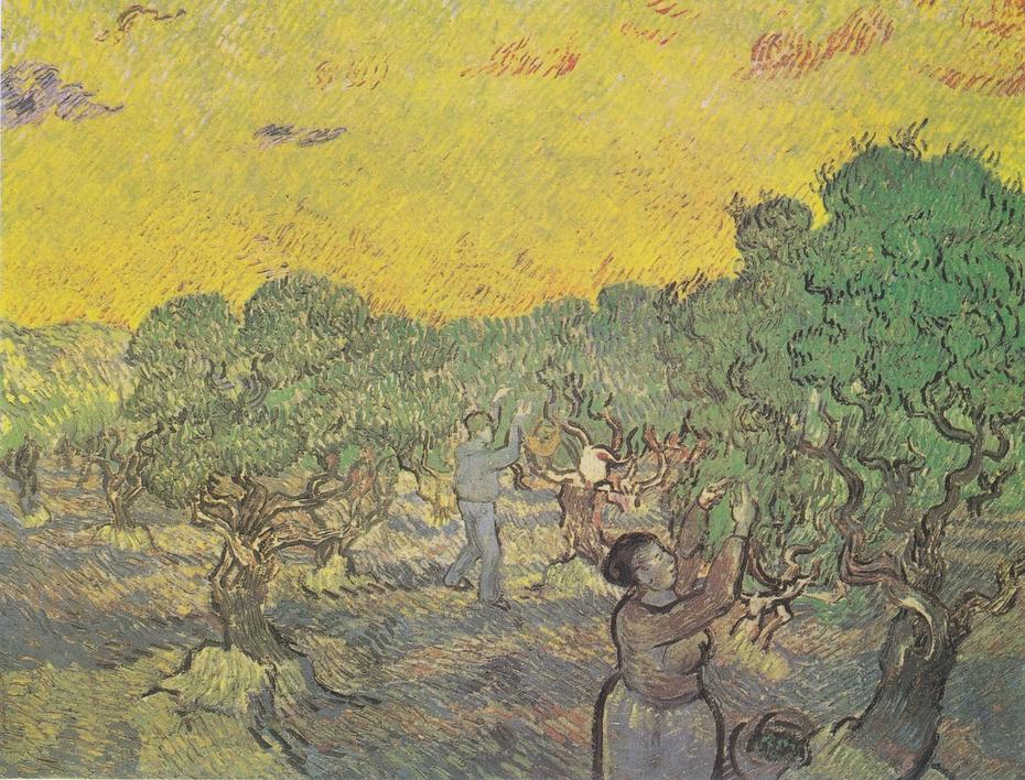 Oilvenhain mit pflückenden Figuren