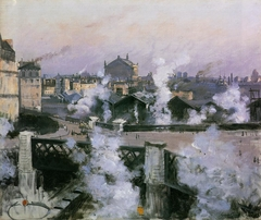 View of St. Lazare Railway Station, Paris