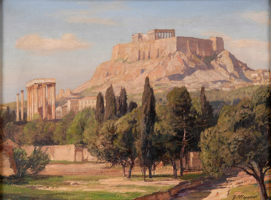 View of the Acropolis of Athens and the Olympieon