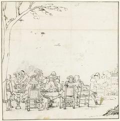 Vrolijk gezelschap aan een tafel in de openlucht