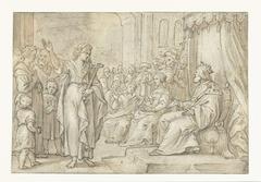 Vrouwelijke heilige verschijnt voor een koning