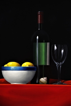 Wine Bottle and glass, oil on canvas 40x60cm 2020