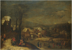 Winter landscape with travellers and people on a frozen river