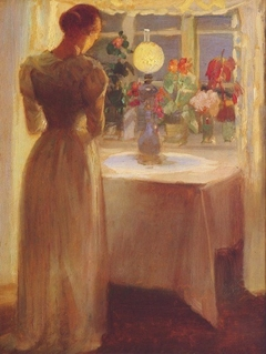 Young Girl Before a Lit Lamp