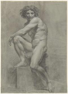 Zittend mannelijk naakt Solleticare