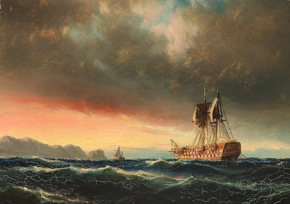 A damaged ship of the line at sunset.