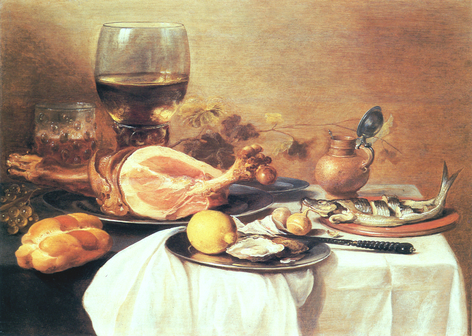 "A ham, a herring, oysters, a lemon, bread, onions, grapes and a ""roemer"" (wine glass of that period) on a table"