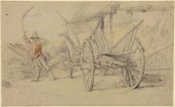 A Man Threshing Beside a Wagon, Farm Buildings Behind