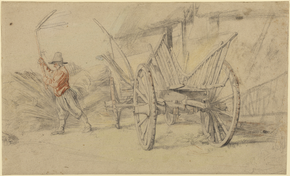 A Man Threshing Beside a Wagon, Farm Buildings Behind