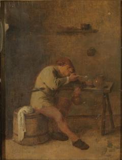 A Smoker Lighting His Pipe
