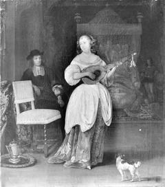 A Woman Playing the Bandora