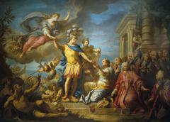 Allégorie en l'honneur de la publication de la paix d'Aix-la-Chapelle, le 13 février 1749