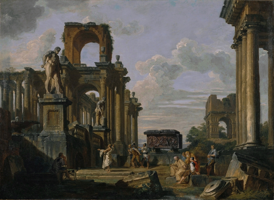 An Architectural Capriccio of the Roman Forum with Philosophers and Soldiers among Ancient Ruins, including the Arch of Janus Quadrifrons, the Sarcophagus of Santa Constanza, the Farnese Hercules and the Cincinnatus