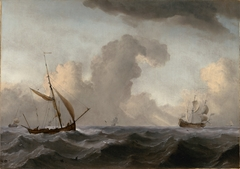 An English Galliot at Sea Running before a Strong Wind