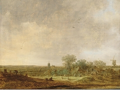 An Extensive Dune Landscape with Corn stooks and a Mill and a distant  view of the Grote kerk in The Hague