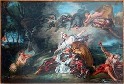 Armide, sur le point de poignarder Renaud, est désarmée à la vue de ce héros endormi