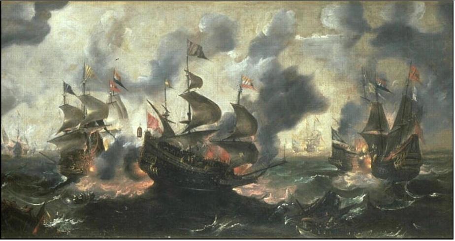 Battle between Dutch ships and Turkish galleys
