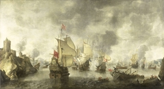 Battle of the Combined Venetian and Dutch Fleets against the Turks in the Bay of Foya, 1649