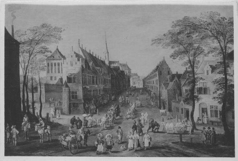 Belebte Straße in einer flämischen Stadt