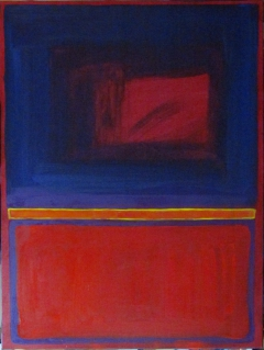 BLUE OVER RED 04.06.11, 40in X 30in, Oil on Canvas, Steve Hendrickson; NFS; Collection: Andrea Hendrickson