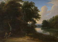 Boslandschap met rivier