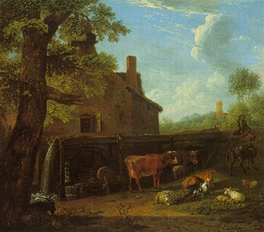 Cattle, Sheep, and Goats at Pasture near an Over-shot Watermill