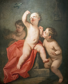 Children playing with a little bird