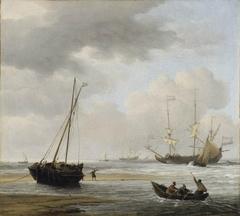 Coast scene with war ships and fishermen