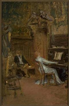 Concert in the living-room, sketch
