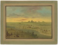Encampment of Pawnee Indians at Sunset