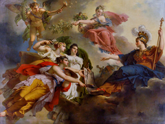 France, under the guise of Minerva, Protecting the Arts
