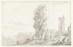 Gezicht op ruïne van het Huis te Kleef bij Haarlem