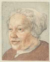 Hoofd van een vrouw, driekwart naar links